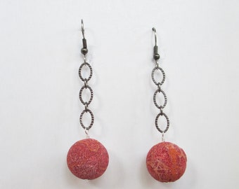 Sponge Coral Drop Earrings