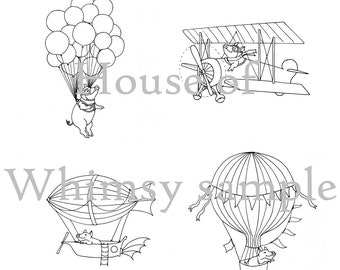 Set of 4 Flying Pig Hand Embroidery Patterns PDF- Pigs in Zeppelin, Biplane, and with Balloons, & Bonus Design: Pig in Hot Air Balloon