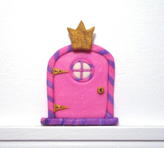 Fairy Door with Princess Crown and Glow-in-the-Dark Window- Sparkly Pink