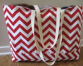Beach Bag Extra Large - Red & White Chevron Beach Tote - Water Resistant Lining - Interior Pocket
