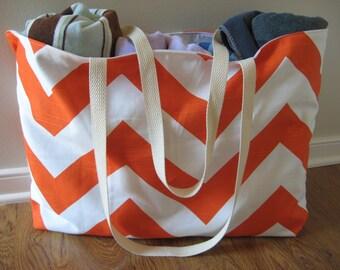 Beach Bag Extra Large - Big Orange Chevron Beach Tote - Water Resistant Lining - Interior Pocket
