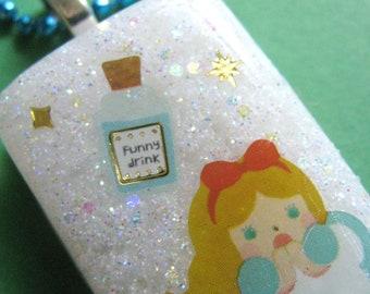 Alice In Wonderland Drink Me Resin Necklace