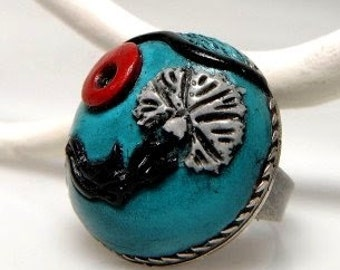 Adjustable Round Turquoise Ring with An Ottoman Style Carnation