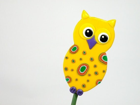 Yellow Owl Garden Stake - Ornament, Table Decorations for Birthday or Shower