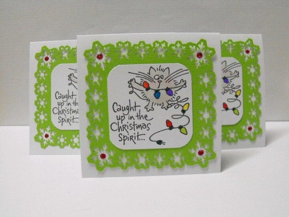 Cat Christmas Note Cards set of 6