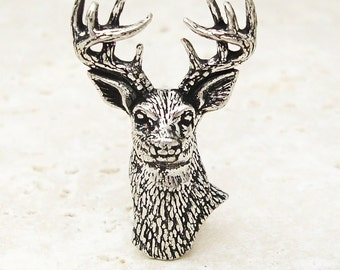 Stag Tie Pin. Antiqued Pewter Deer Antler Tie Tack Pin