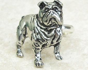 Bulldog Ring. Bulldog Antiqued Pewter Silver Plated Ring
