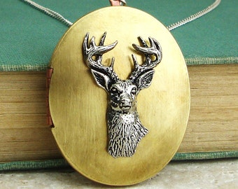 Stag Locket Necklace. Antiqued Silver Pewter Stag Head and Vintage Brass Locket