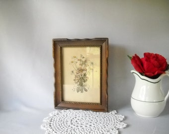 Vintage Print  Flower Print  Shabby Cottage Decor Framed Print Antique Flower Print