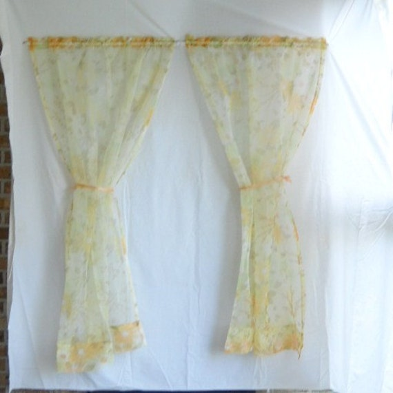 Vintage Curtains Vintage Sheer Draperies Flower Floral Sheers Curtains Mid Century Decor Flower Power