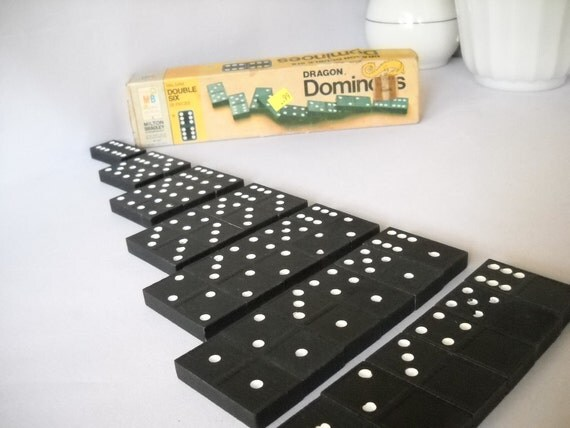 Dominoes Boxed Set of 28 Vintage Double Six Dominoes Wooden Milton Bradley Halsam Black White Dots