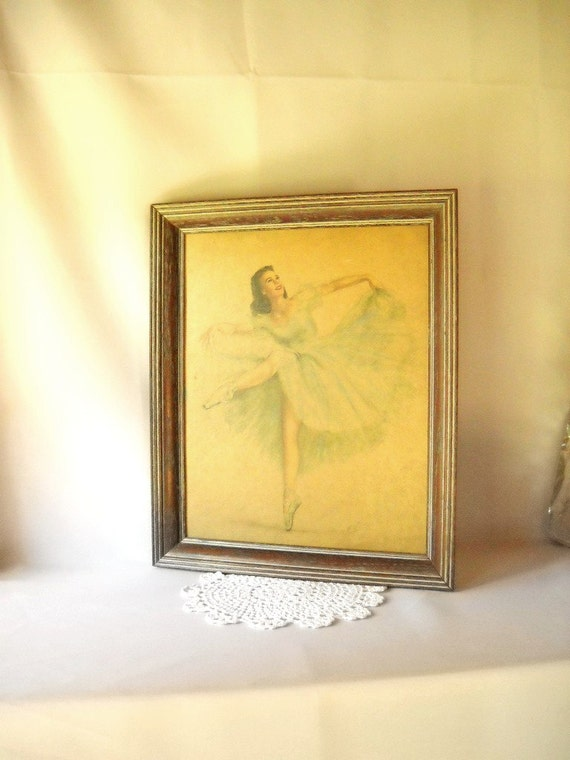 Vintage Print Ballerina Print Dancer Monte Tutu Mid Century Art Home Decor