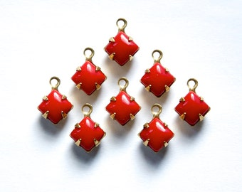 Opaque Red Square Glass Stones in 1 Loop Brass Setting 6mm squ001N