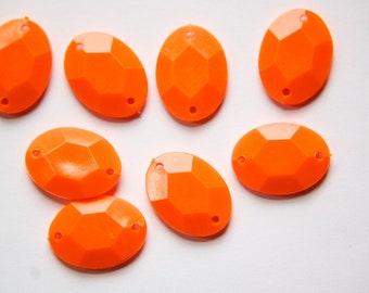 Vintage Orange Plastic Faceted Drops Connectors bds031K