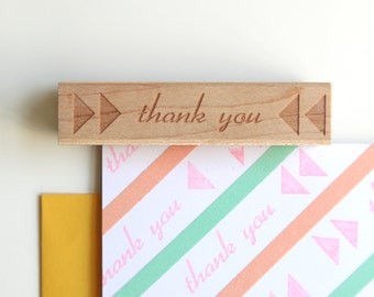Thank You Rubber Stamp, Retro Typographic Triangles Design (Wood Mounted) with optional wooden handle (S106) Make Your Own DIY Cards
