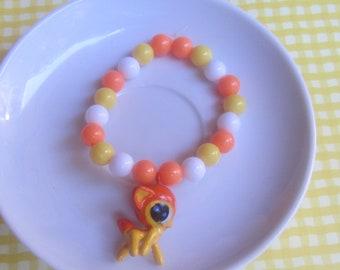 girls orange deer charm  bracelet