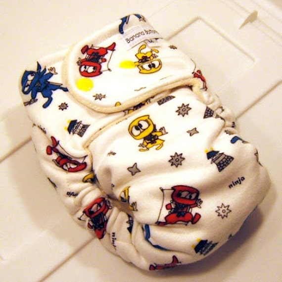NINJA Fitted Cloth Diaper made with Bamboo and Organic Cotton handmade by Banana Bottoms