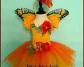 Fairy Costume - The Monarch Butterfly Faerie trimmed with poppies - size 2/4