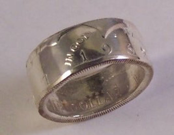 Silver coin ring Kennedy half dollar ring unique gift for coin collector size 11 1/2 Date 1969