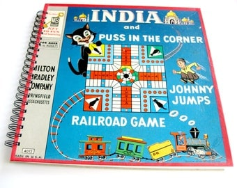 Board Game Notebook & Sketchbook // India // Puss in the Corner // Recycled Vintage Board Game
