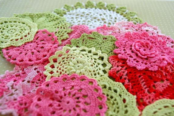 Rosalie-----Pink, green and white hand dyed vintage doilies