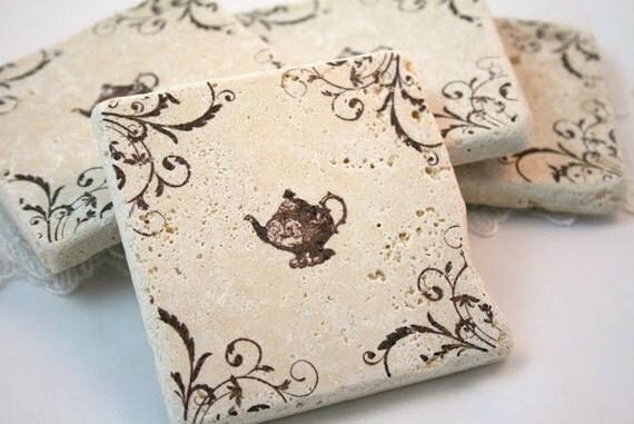 Stamped Tile Coasters Tea Pot Tea Party Wedding Favor Tumbled Tile Vintage Inspired