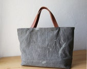 RESERVED WWII Canvas Tote Bag // Zipper Closure // Oiled Veg Tanned Leather // Briefcase // Mens