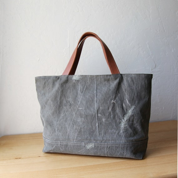 RESERVED WWII Canvas Tote Bag // Zipper Closure // Oiled Veg
