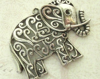 "Large Elephant Pendants 60mm - Set of 2 - 60mm x 50mm (2 5/8"" x 2"") Antique Silver Finish Charms, Lead Free, Nickle Free (SC0044)"