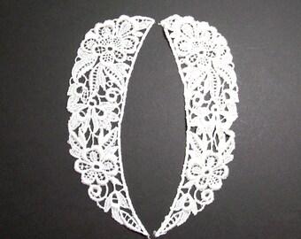 Lace Collar, Matte White Venice Lace Applique Collar Set of 2 Pieces, Craft Supplies