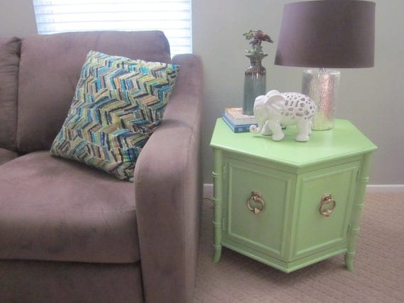 Apple Green and Gold mid century / regency style hexagonal side table