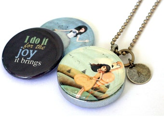 Personalized Jewelry, Gift for Teen Girl, Locket Necklace, Magnetic with 3 Interchangeable Lids, Joy Jewelry, Custom, Gift for Her, Polarity