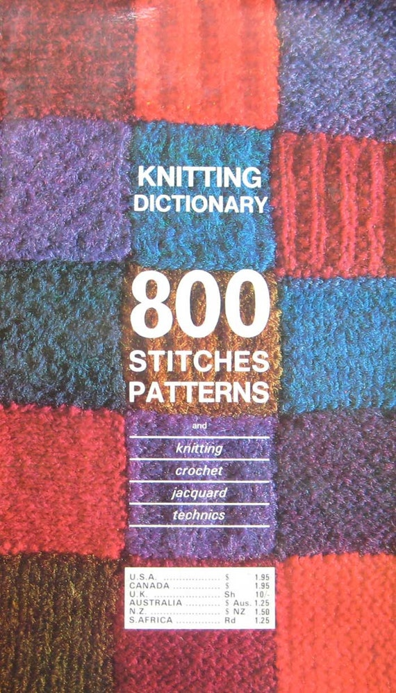 Vogue Dictionary Knitting Stitches : Vintage Knitting Dictionary 800 Stitches Pattern by TheHowlingHag