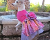 Pet Clothing Arizona Wedding Party 'Arizona Sunset Batik' Dress or 'Arizona Fun in the Sun Batik'  Hot Coral Dress