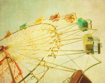 Ferris wheel photo yellow art for babys room circus photo nursery decor carnival print wall art Yellow October 8x10