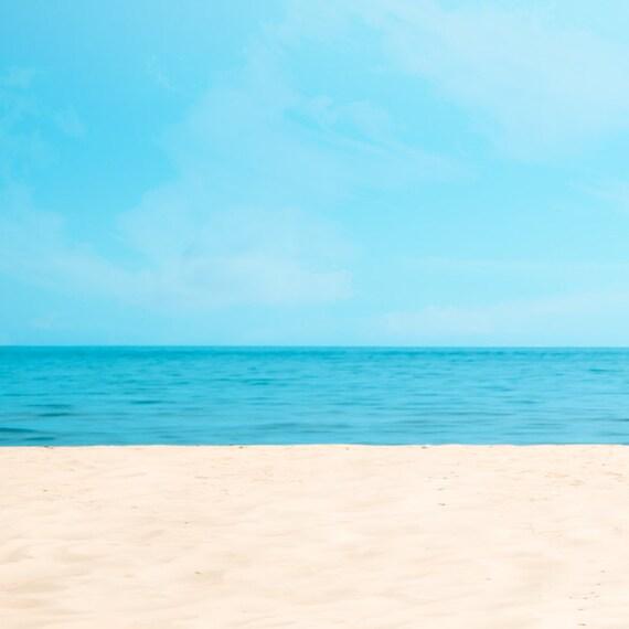 Ocean photography, summer decor, sandy beach, baby blue, sky, aquamarine, landscape, simple, minimalism, outer banks