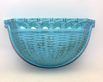 Homco Vintage Basket Wall Pocket Turquoise Upcycled Distressed Planter