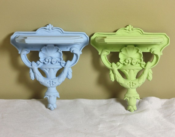 Small Wall Shelf Turquoise Blue and Lime Green Set of 2