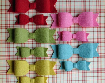 Wool Felt Bows - Retro Christmas Colors - Set 10