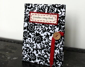 mothers day gift personalized gifts for her brag book photo album custom in black and white damask