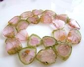 253Ctw---1/2 Strand--Amazing, Pink Watermelon Tourmaline Smooth Slice Nuggets