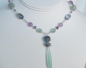 Chalcedony Necklace  -  Fluorite Necklace - Aqua Necklace - Amethyst Necklace