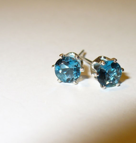 London Blue Topaz Stud Earrings in Solid Sterling Silver