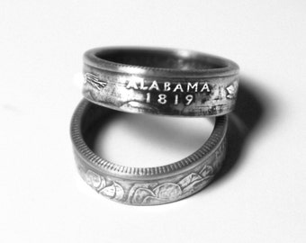 Alabama State US Quarter Ring - Handmade for Your Size