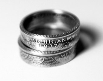 Handcrafted Ring made from a US Quarter - Michigan - Pick your size