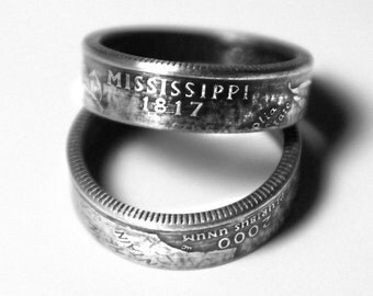 Handcrafted Ring made from a US Quarter - Mississippi - Pick your size