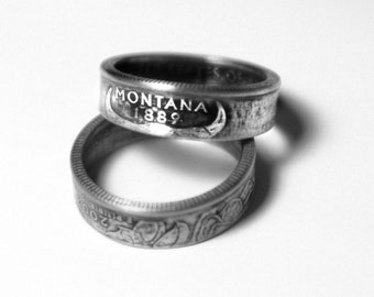 Handcrafted Ring made from a US Quarter - Montana - Pick your size