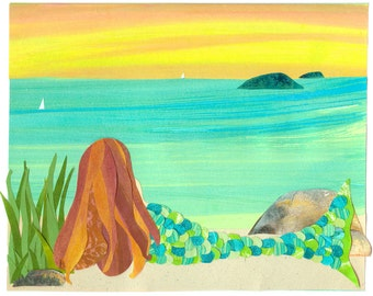 Atlantic Mermaid - Collage Art Mermaid Print 8x10 or 10x13 - Redhead Mermaid on Beach