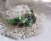 Vintage Green Rhinestone Brooch in Emerald and Peridot - Prong Set Spray