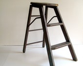 Vintage Wood Step Ladder Rustic Stool  / Early 20th Century / Industrial Home